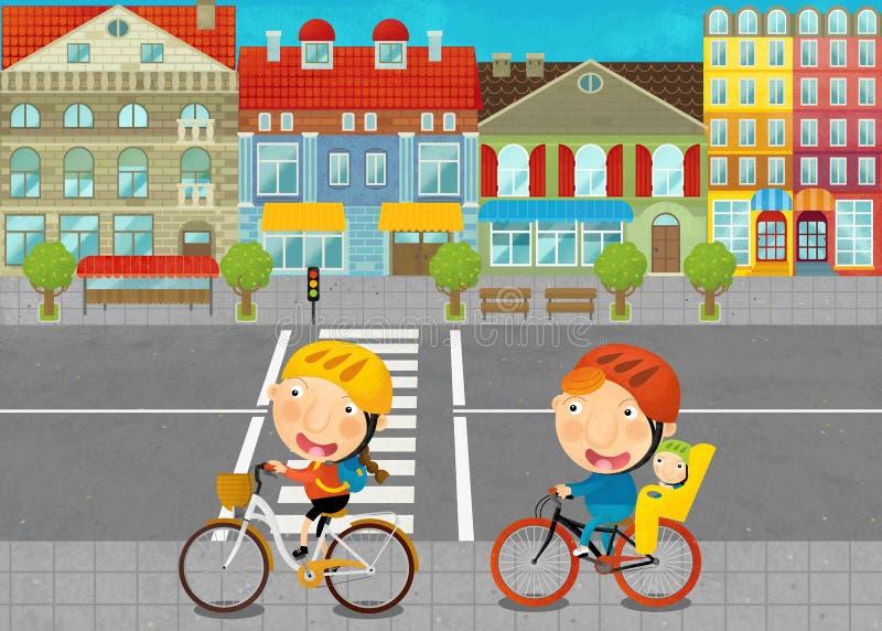 与年轻人的动画片场面路的在城市 库存例证