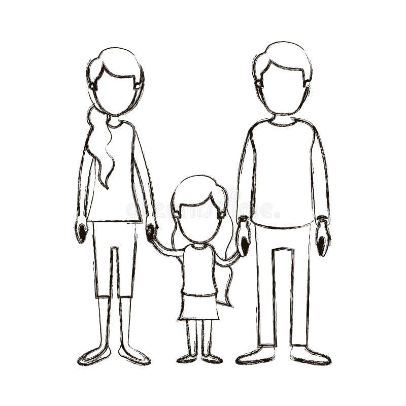 与年轻父亲和妈妈的被弄脏的剪影讽刺画匿名的家庭有有女孩的旁边马尾辫头发的被采取 皇族释放例证