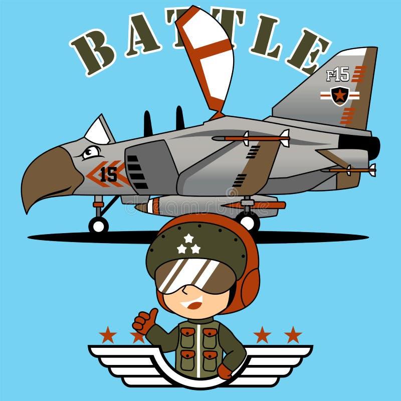 与年轻飞行员的喷气式歼击机动画片传染媒介  向量例证