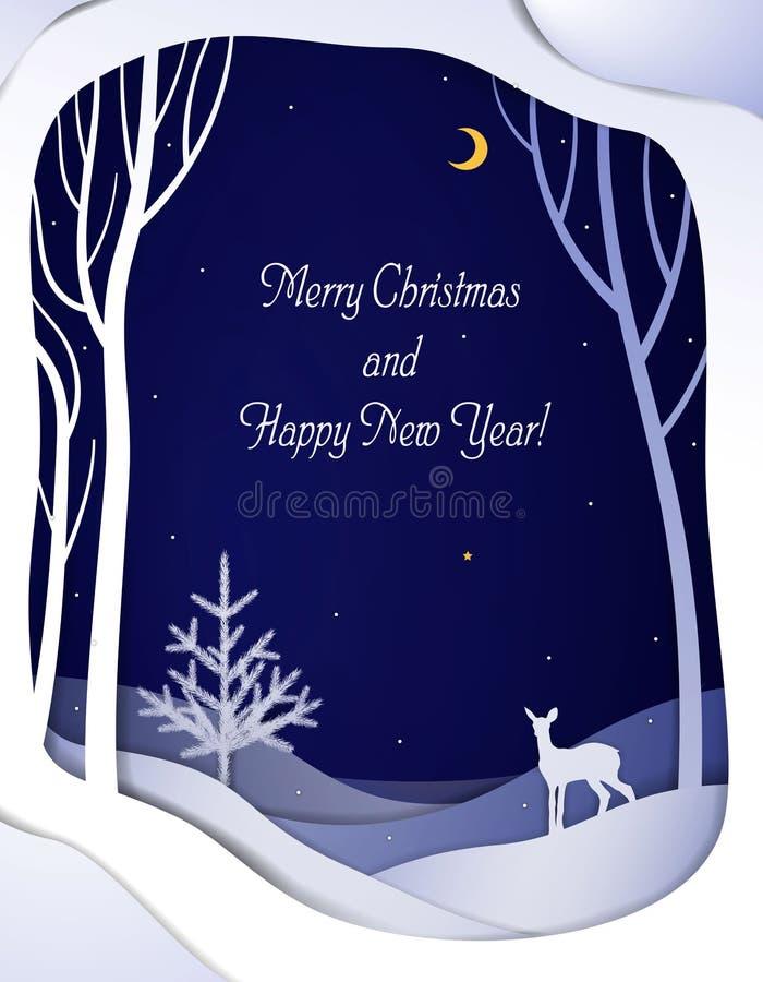 与年轻鹿和圣诞树的纸冬天森林夜风景卡片,与bambi的纸冬天童话背景和 库存例证