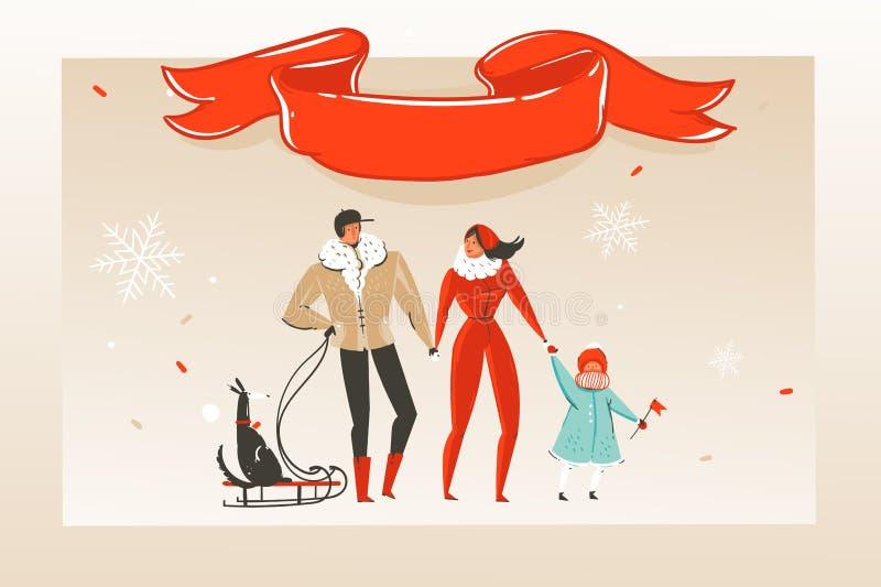 与幸福家庭和红色丝带的手拉的传染媒介摘要乐趣圣诞快乐时间动画片例证贺卡 皇族释放例证