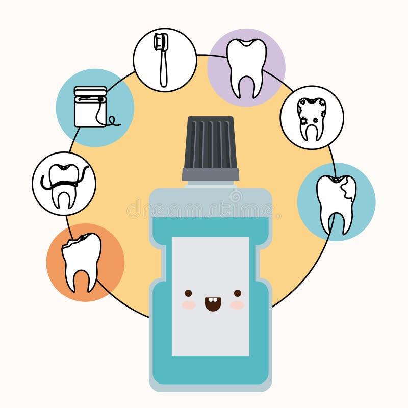与幸福表示的漱口kawaii与圆在白色背景的框架象牙齿保护 向量例证