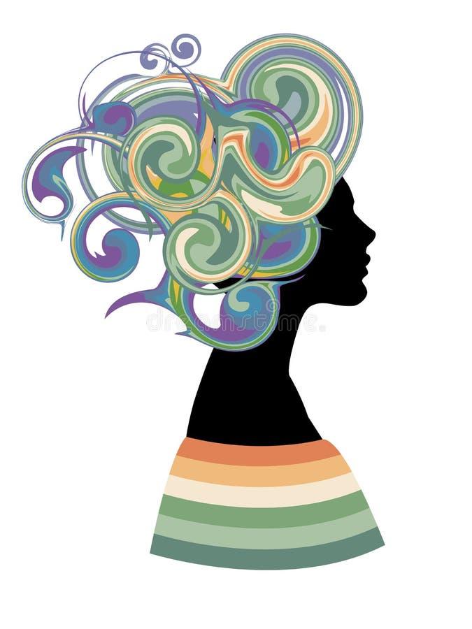 与幻想发型的妇女剪影 库存例证