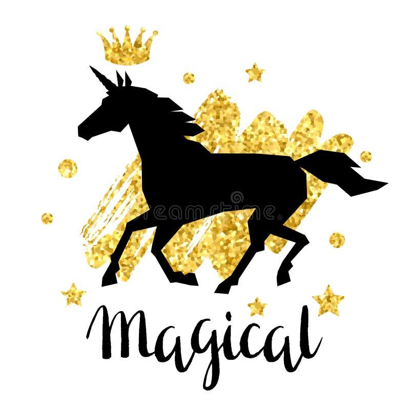 与幻想独角兽和金子闪烁纹理的卡片 皇族释放例证