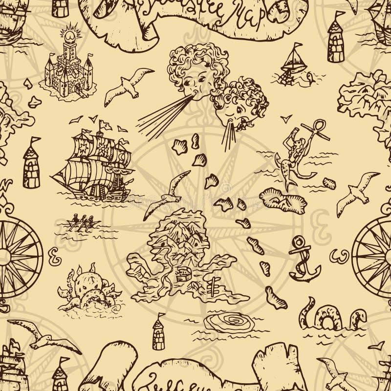 与幻想生物的无缝的背景和海盗珍惜地图元素 库存例证