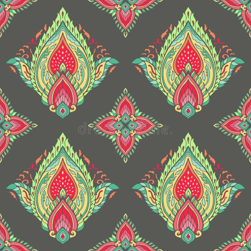 与幻想花自然墙纸花卉装饰卷毛例证的无缝的样式与泰国传统 皇族释放例证