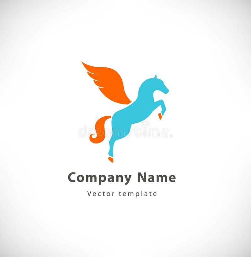 与幻想马的传染媒介略写法与vings 佩格瑟斯标志,商标 库存例证