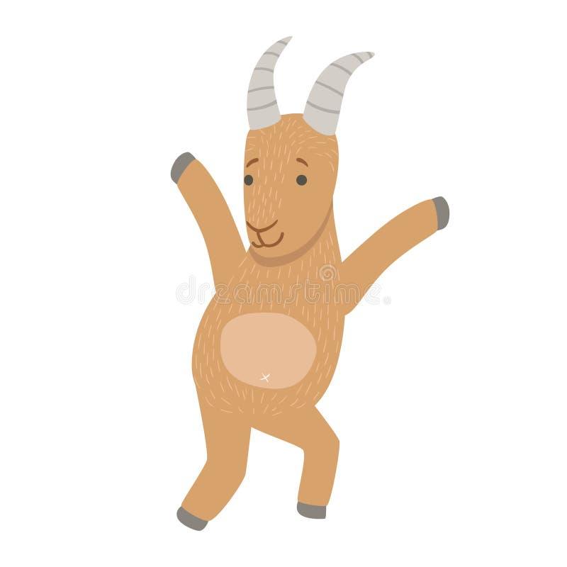 与幼稚传染媒介贴纸的动物区系汇集的详细的元素零件的山羊逗人喜爱的玩具动物 库存例证