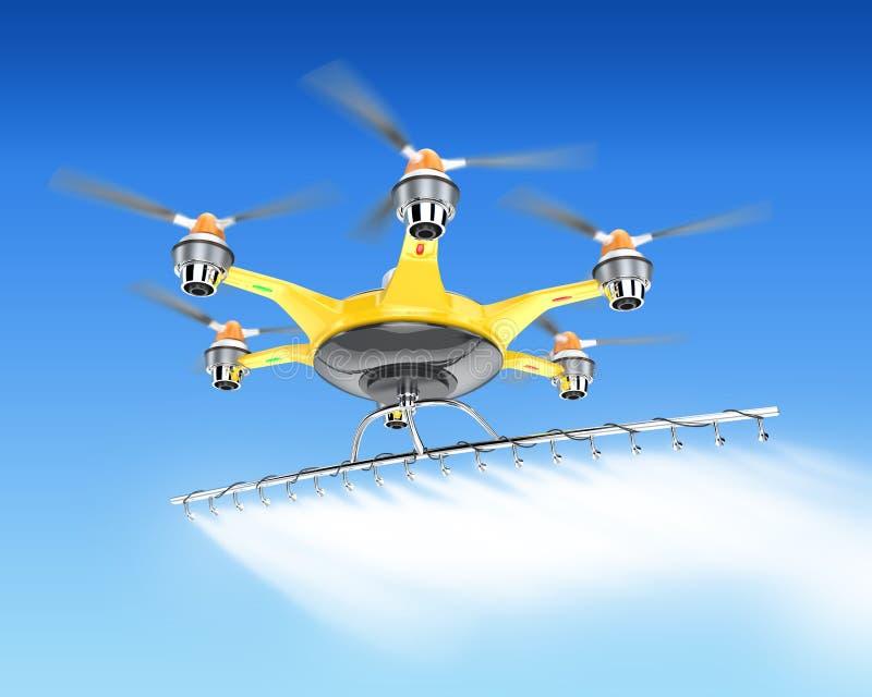 与庄稼喷雾器飞行的Hexacopter在天空 皇族释放例证