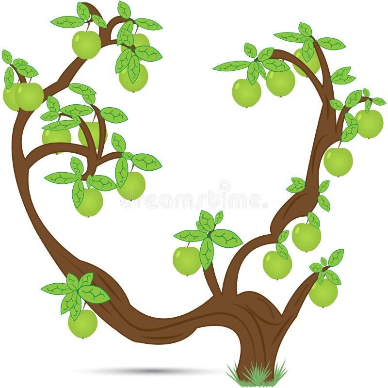 与庄稼的老苹果树 向量例证