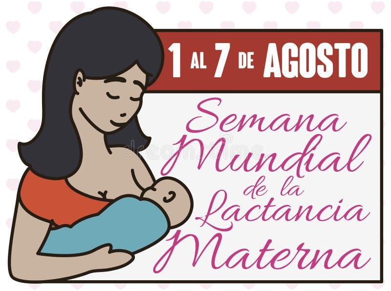与庆祝世界哺乳的星期,传染媒介例证的日期和拉丁母亲的日历 皇族释放例证