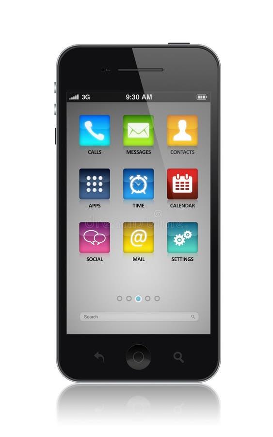 与应用图标的现代smartphone 向量例证