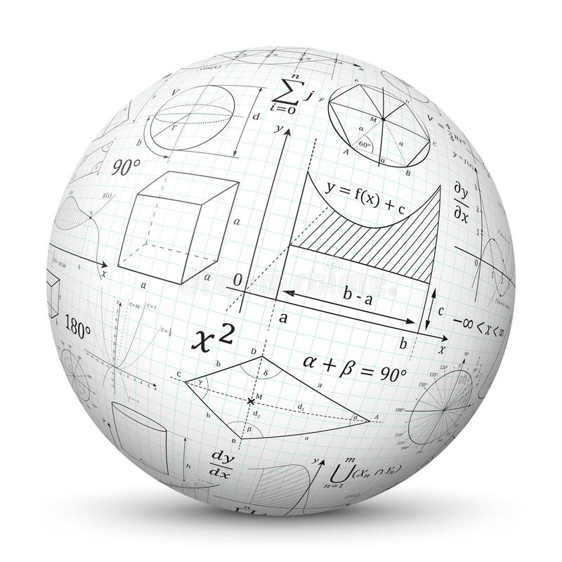 与座标图纸纹理和数学符号-算术欺诈滑动的白色3D传染媒介球形 库存例证