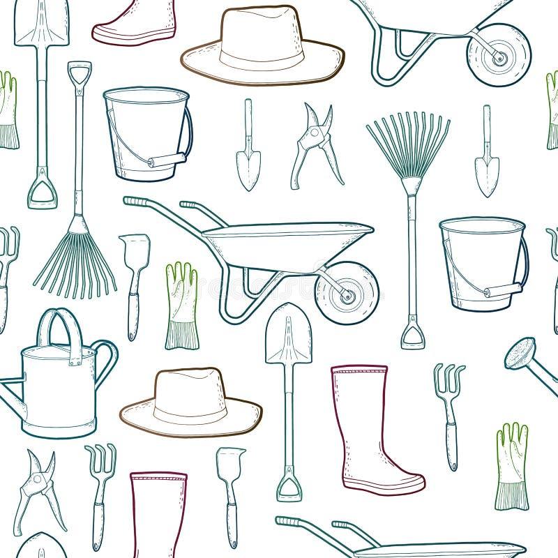 农夫的工具_与庭院和农夫工具的概述样式 仪器和帽子和独轮车,手套