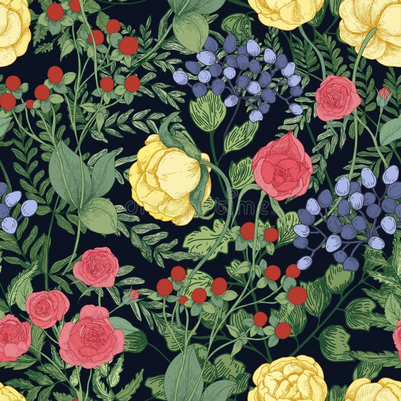 与庭院开花的花和开花的草本的浪漫自然无缝的样式在黑背景 典雅 皇族释放例证