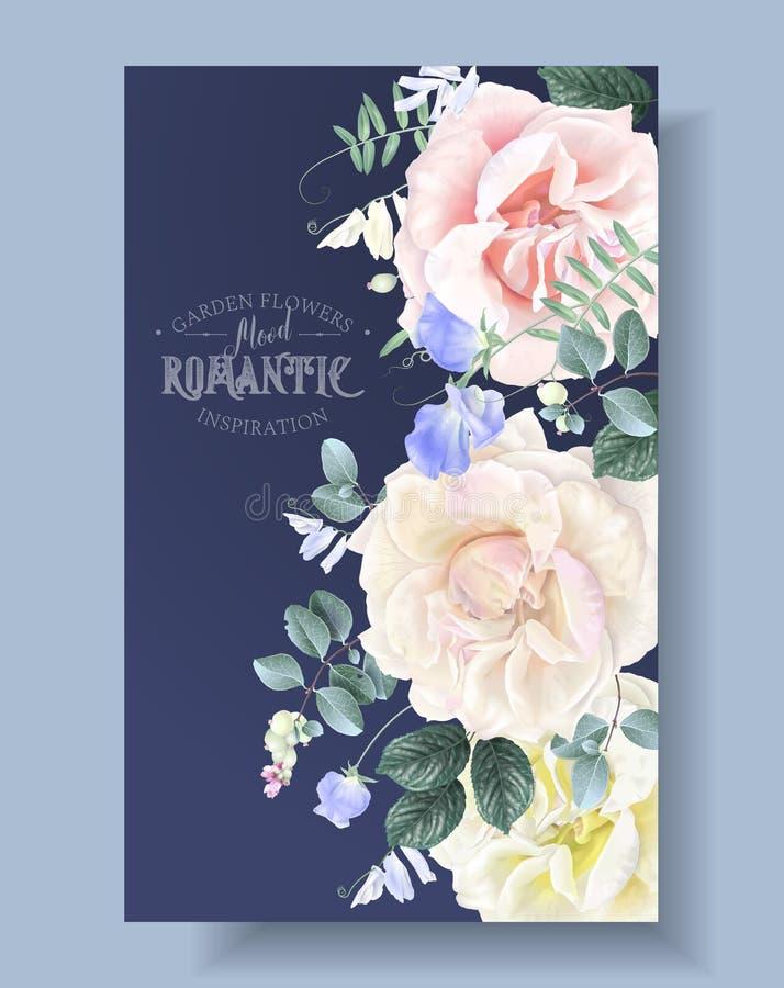与庭院玫瑰的传染媒介葡萄酒花卉边界 向量例证