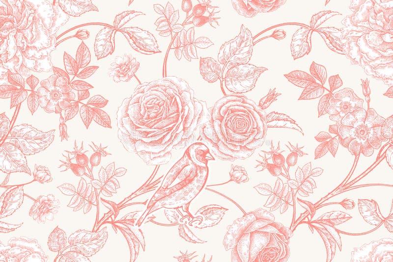 与庭院花和鸟的无缝的样式 库存例证