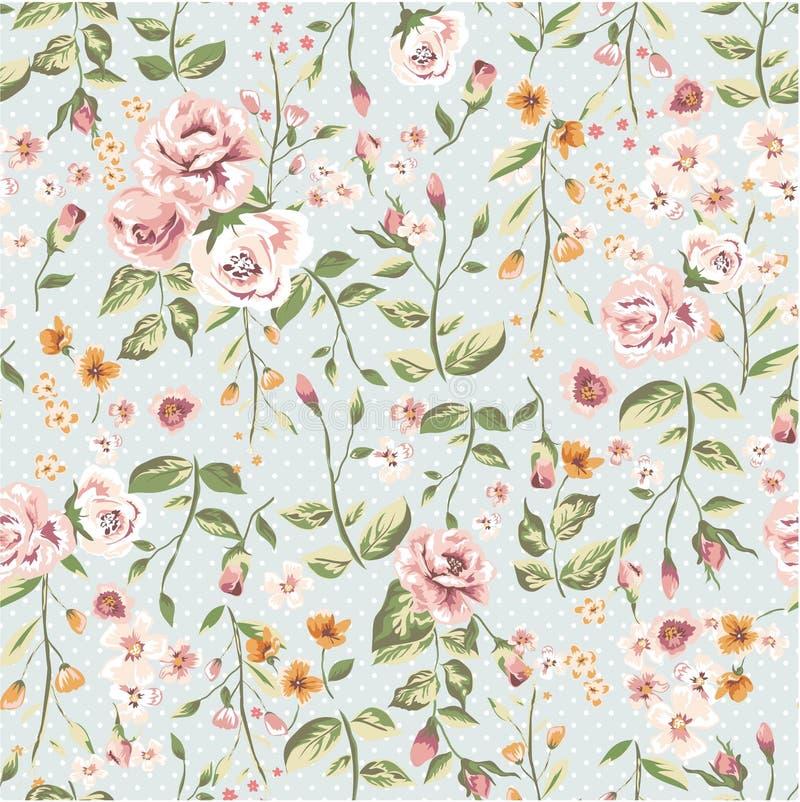 与庭院花的无缝的典雅的样式 免版税库存图片