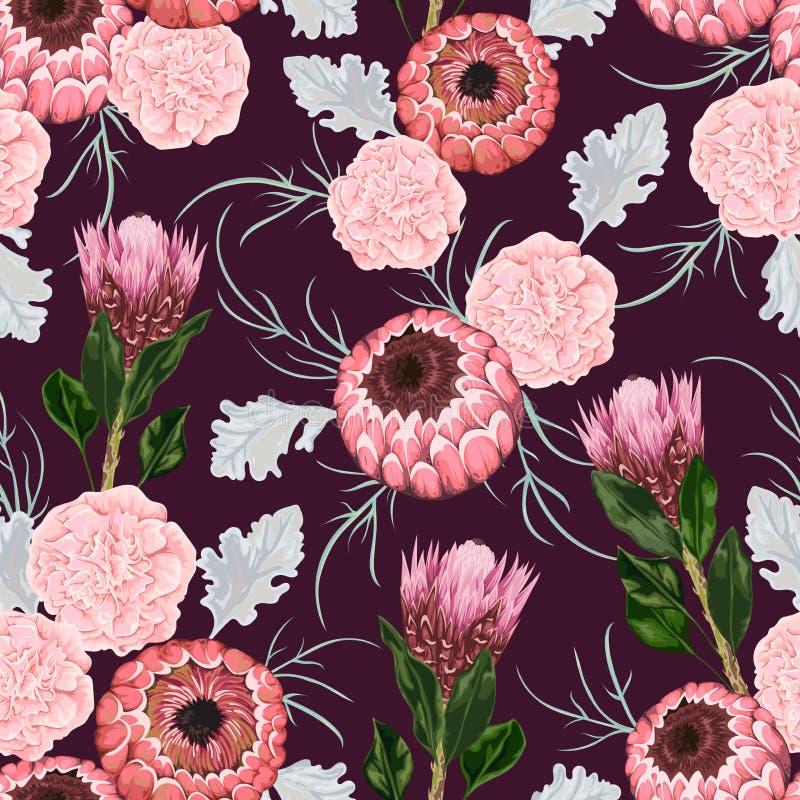 与康乃馨、多灰尘的磨工、普罗梯亚木花、叶子和芽的无缝的样式 向量例证