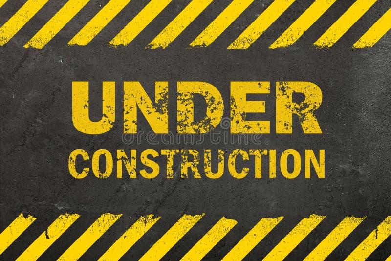 与建设中标志的具体背景 免版税库存照片