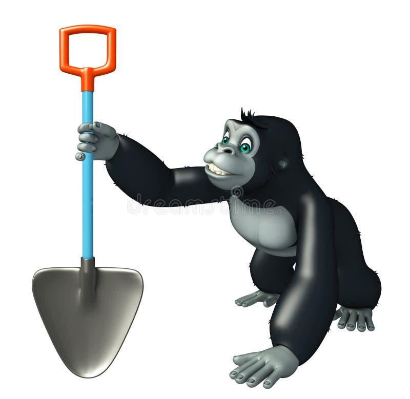 与开掘的铁锹的逗人喜爱的大猩猩漫画人物 向量例证