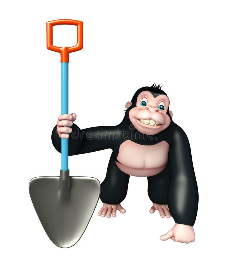 与开掘的铁锹的逗人喜爱的大猩猩漫画人物 皇族释放例证