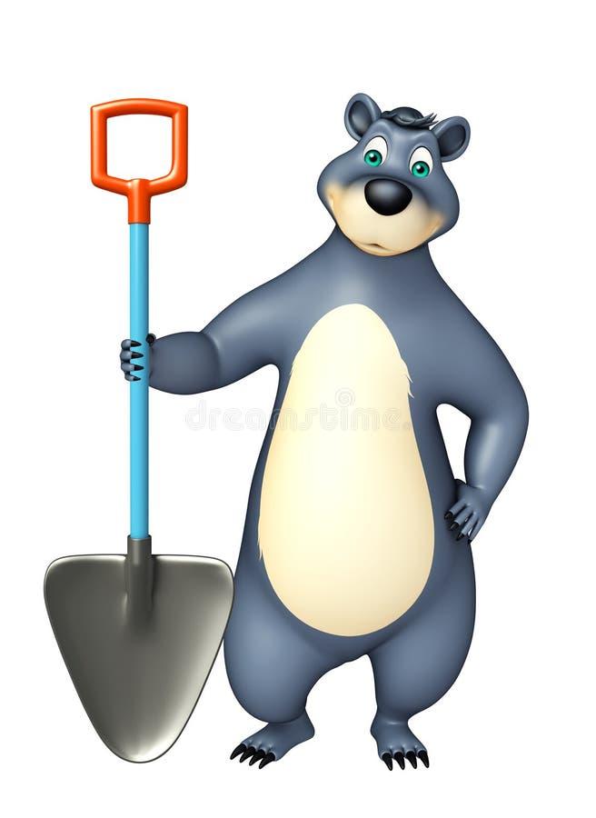 与开掘的铁锹的逗人喜爱的熊漫画人物 向量例证