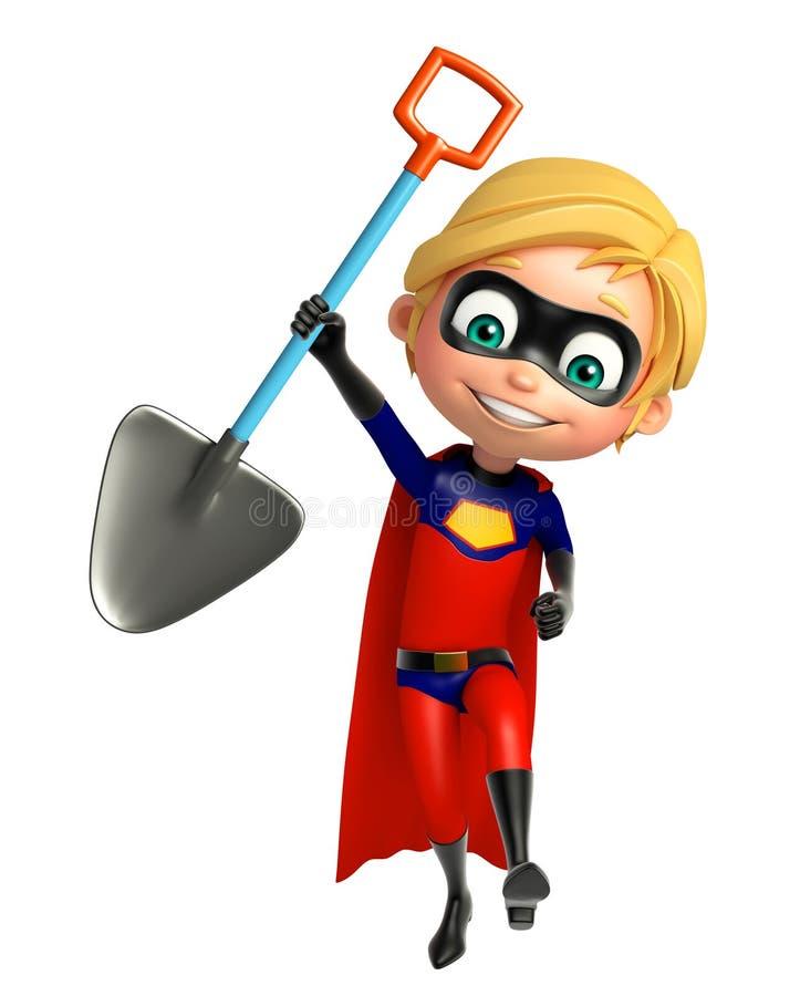 与开掘的铁锹的Superboy 库存例证