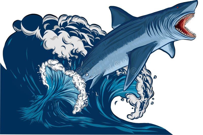 与开放嘴的鲨鱼在海 平的传染媒介例证 向量例证