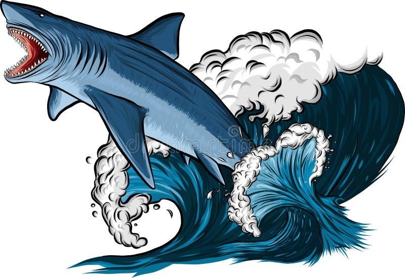 与开放嘴的鲨鱼在海 平的传染媒介例证 库存例证