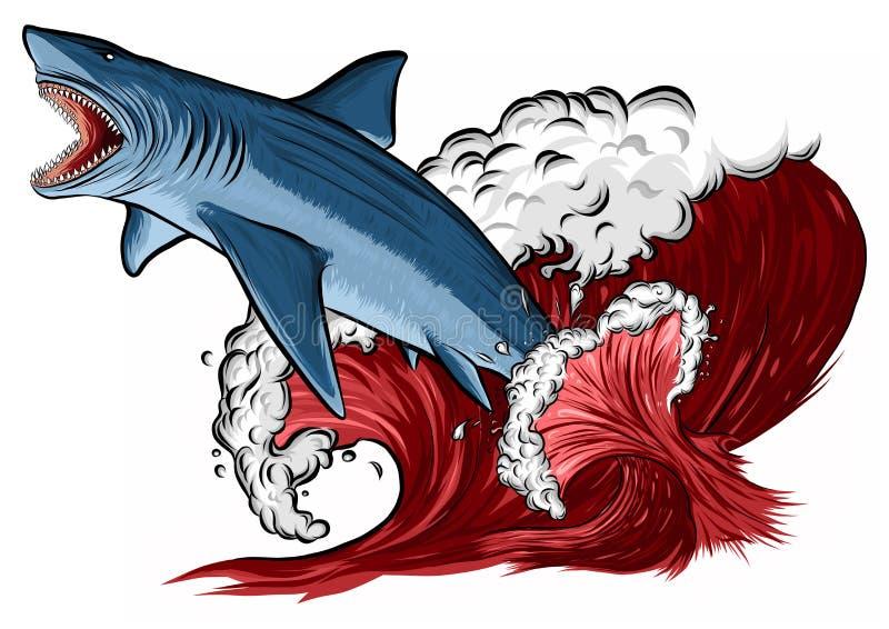 与开放嘴的鲨鱼在海 平的例证 库存例证