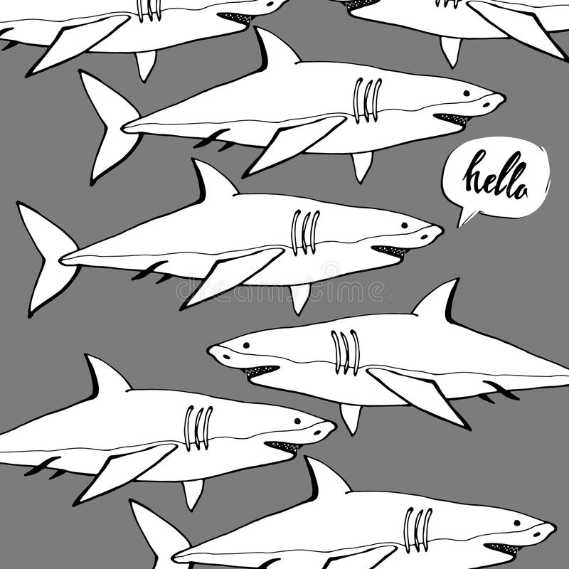 与开放嘴的鲨鱼 平的传染媒介 库存例证