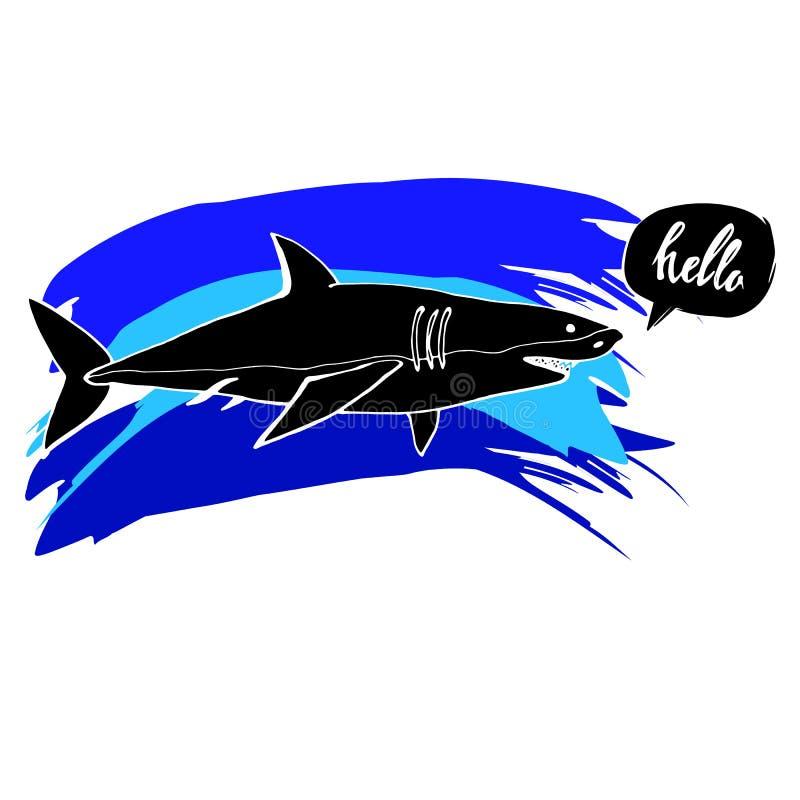 与开放嘴的鲨鱼 平的传染媒介 向量例证