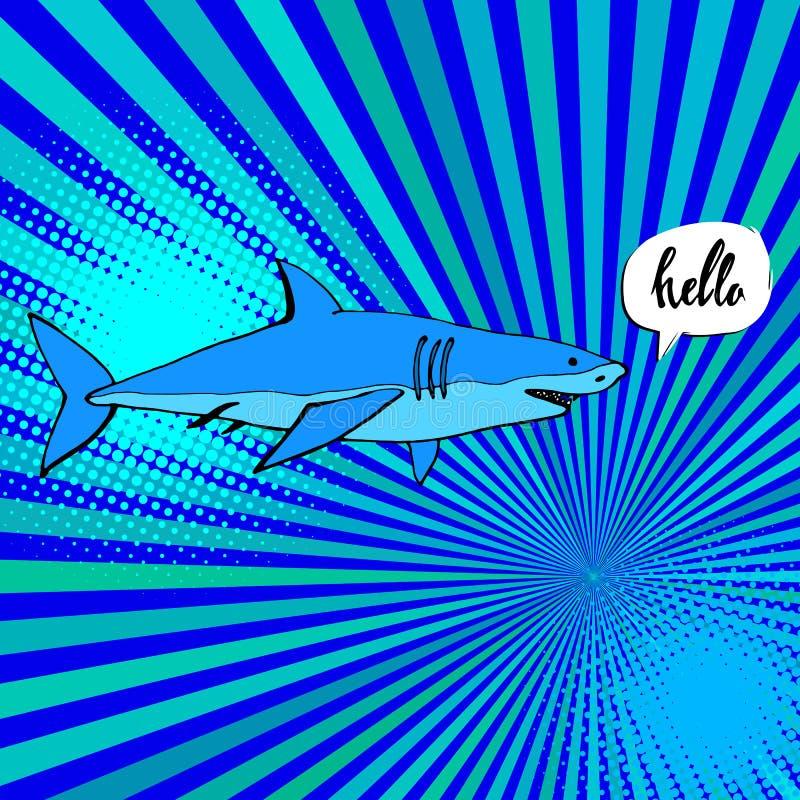 与开放嘴的鲨鱼 平的例证 向量例证