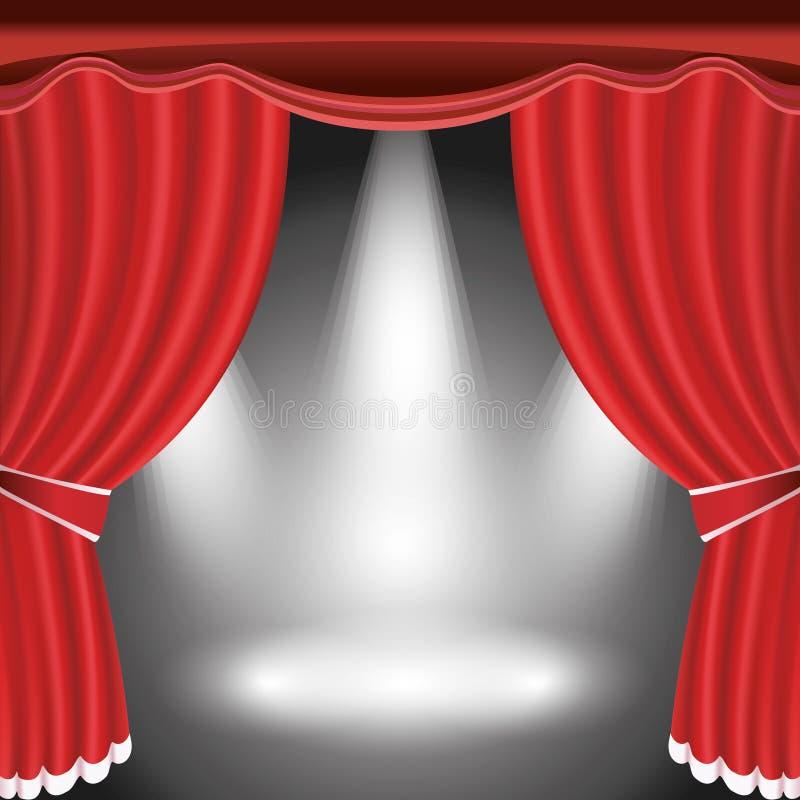 与开放红色窗帘和聚光灯的剧院阶段 向量例证