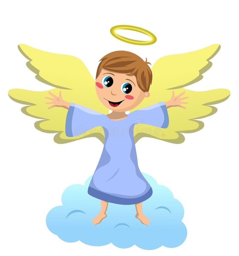 与开放胳膊的天使孩子 向量例证