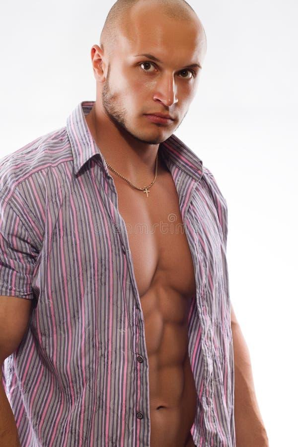 与开放衬衣的男性肌肉设计 图库摄影