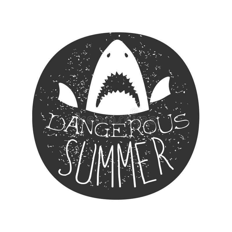 与开放嘴夏天海浪俱乐部黑白邮票的大白鲨鱼与危险动物剪影模板 皇族释放例证