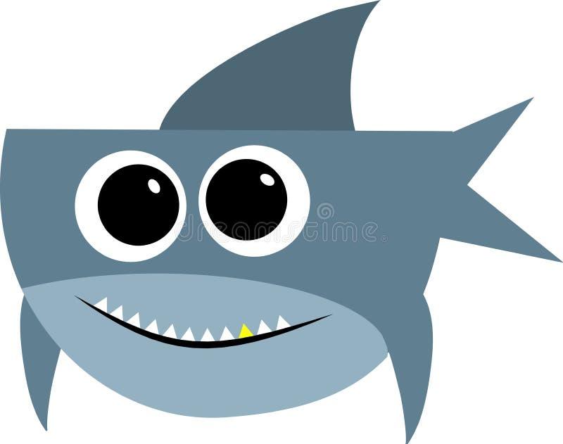 与开放嘴的鲨鱼 背景位隔离白色 平的例证 库存例证