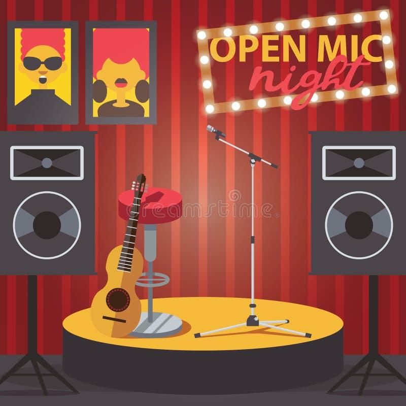 与开放mic、吉他、话筒和音频报告人的场面 俱乐部内部的方形的构成 向量例证