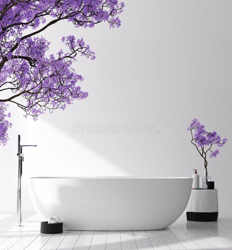 与开花树的现代卫生间内部,海报墙壁嘲笑 免版税库存照片