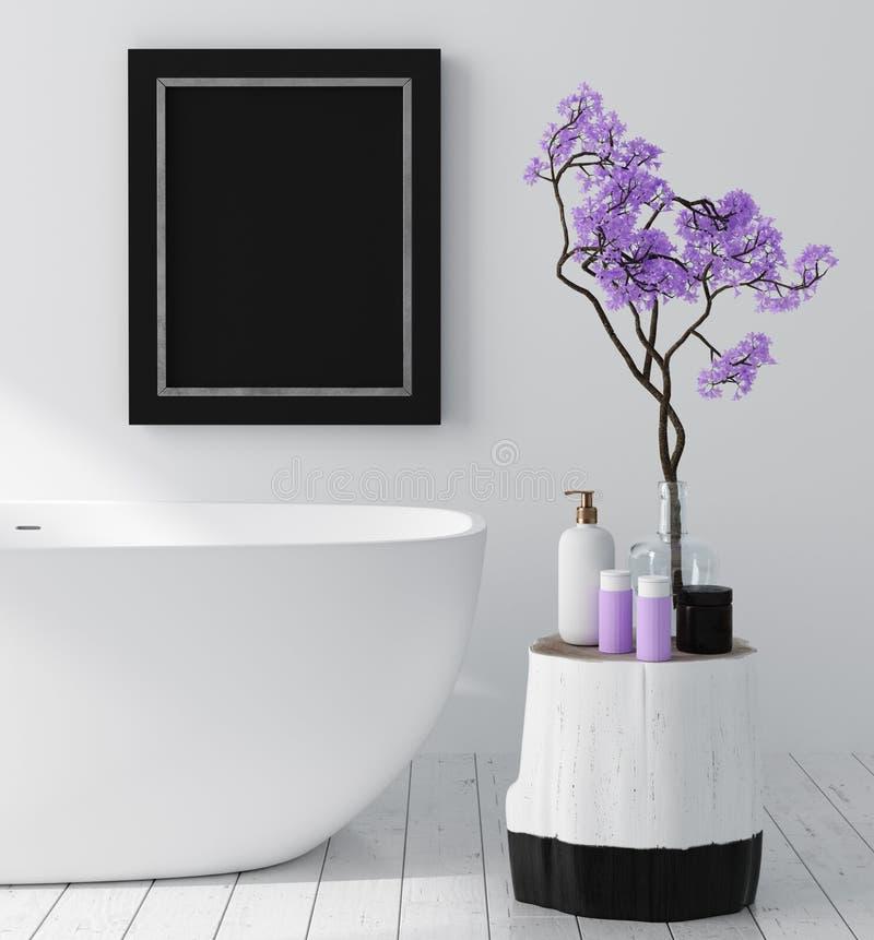 与开花树的现代卫生间内部,海报墙壁嘲笑 免版税图库摄影