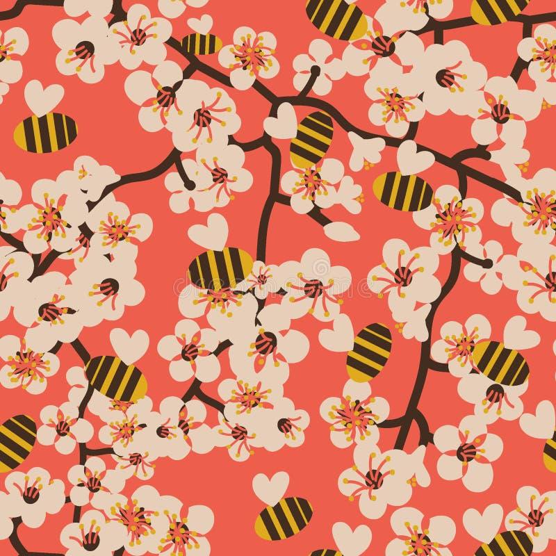 与开花的树枝和蜂的无缝的传染媒介样式 向量例证