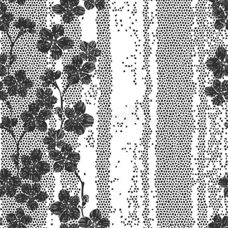 与开花的樱桃分支的单色无缝的样式 摘要 皇族释放例证