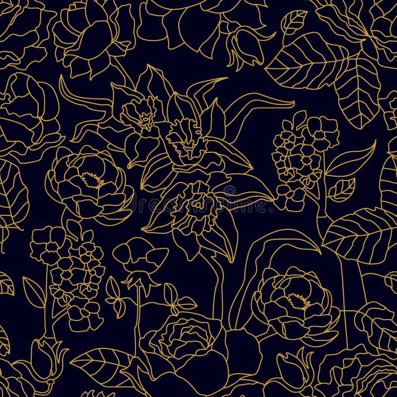 与开花的玫瑰和水仙的无缝的花卉样式 向量例证