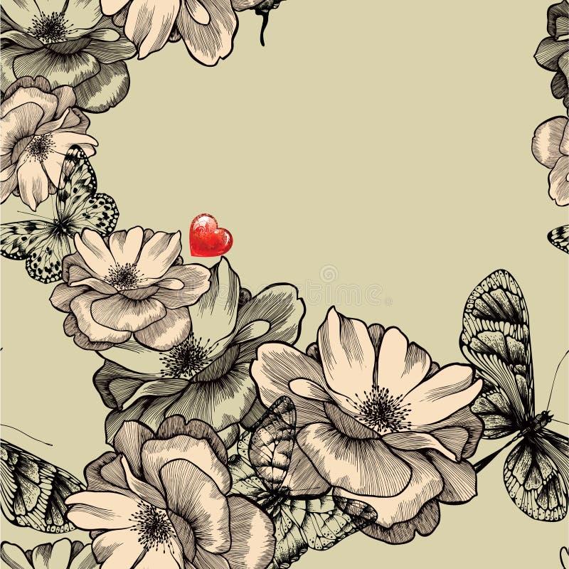 与开花的玫瑰,蝴蝶的无缝的样式  皇族释放例证