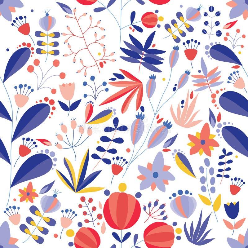 与开花的花的夏天无缝的样式在白色背景 与嫩草甸野花的花卉背景 ?? 向量例证