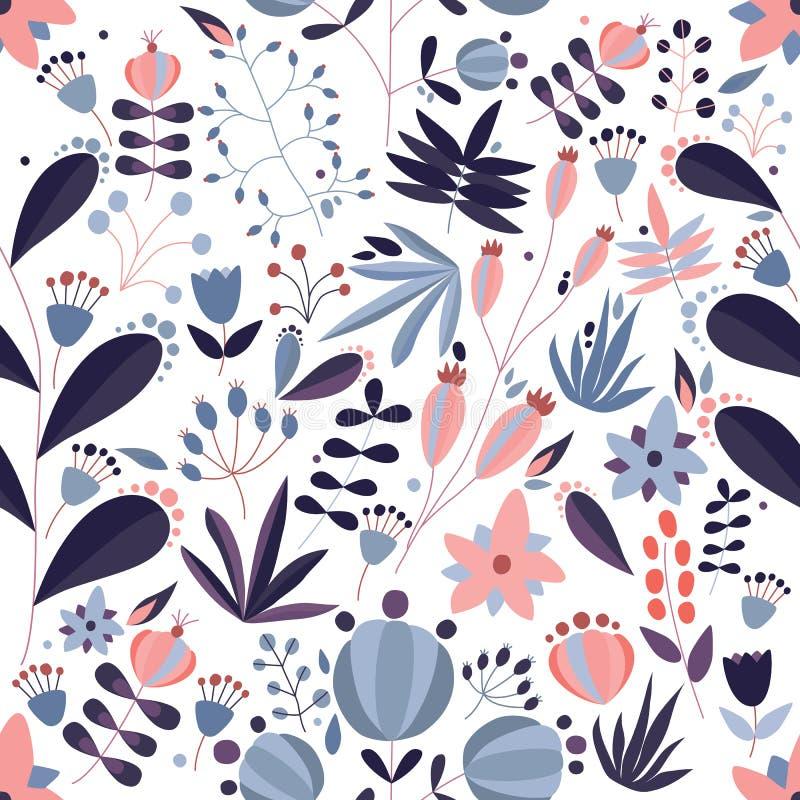 与开花的草甸花和野花植物的装饰无缝的样式白色背景的 玻色子 库存例证