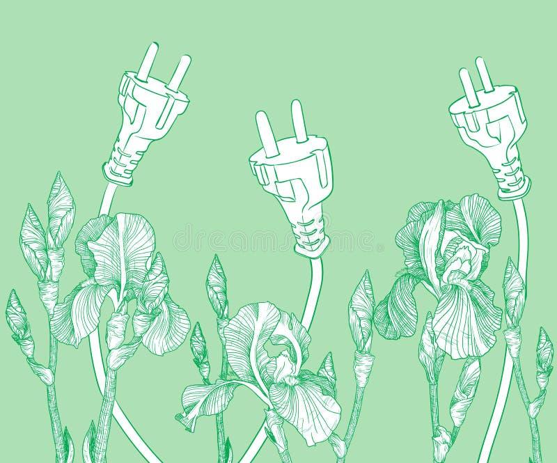 与开花的虹膜的绿色不伤环境的背景 皇族释放例证
