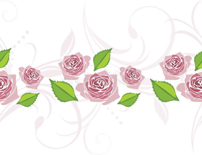 与开花的风格化桃红色玫瑰的装饰边 皇族释放例证